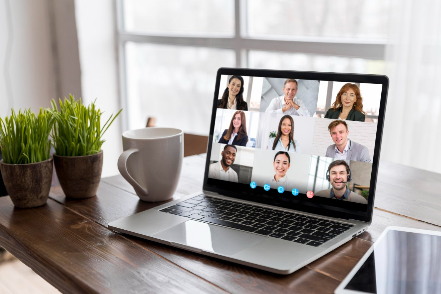 business video call laptop